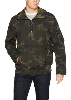 True Religion Men's Anorak Jacket with Camo Print Military Green L