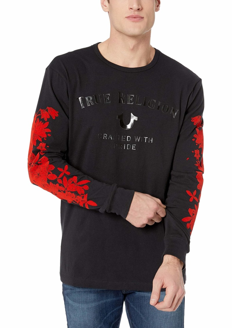 True Religion Men's Bloom Long Sleeve Crew Neck TEE  XXL