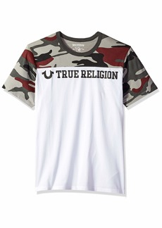 True Religion Men's CAMO FTBL Football Crew Neck White/Gry Burgundy XXL