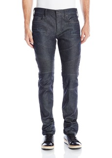 True Religion Men's Coated Stretch Rocco Relaxed Skinny Moto Jean