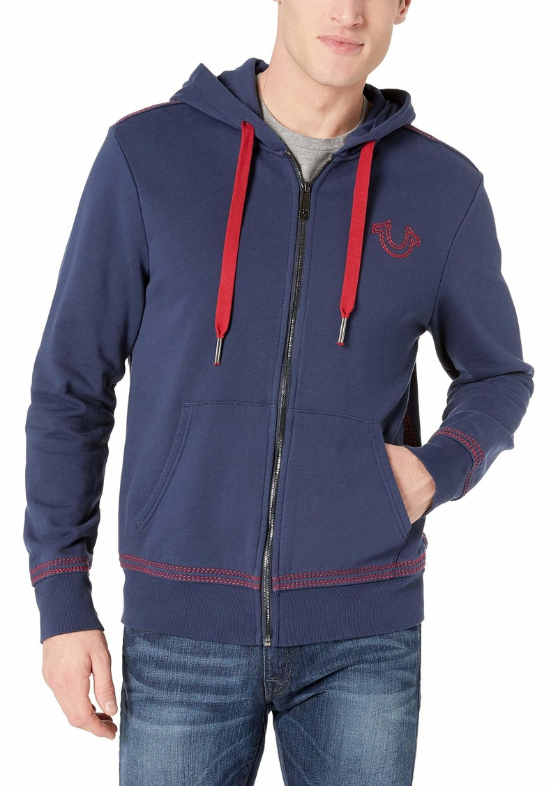 True Religion Men's Double Contrast Stitch Hoodie ace Blue M
