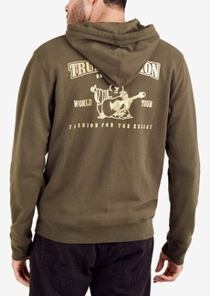 True Religion Men's Gold Double Puff Metallic Logo-Print Hoodie