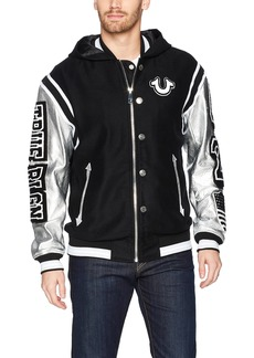 True Religion Men's Hooded Varsity Jacket  S