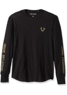 True Religion Men's Long Sleeve Distorted Logo Tee  XXL