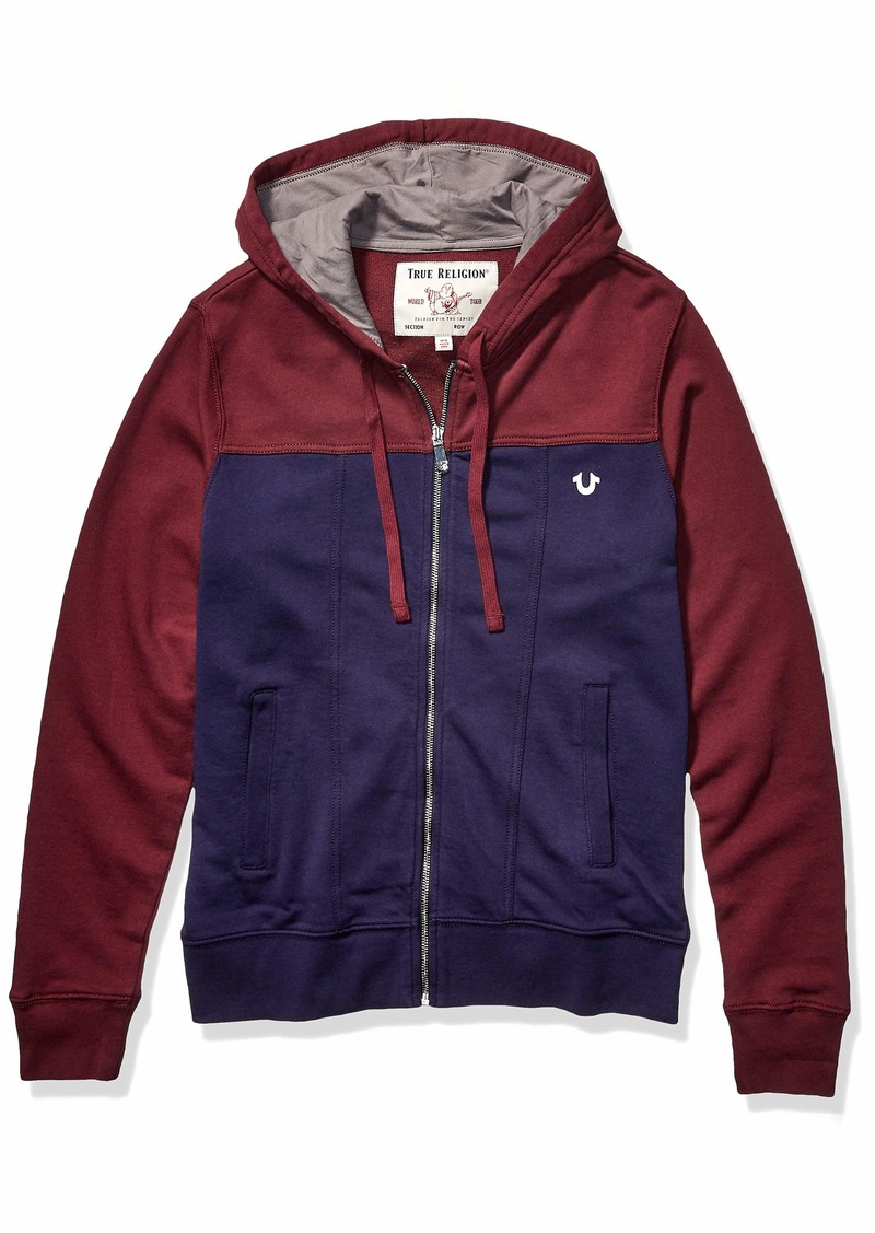 True Religion Men's LS Denim Fashion Zip Hoodie Deep Garnet/Royal Midnight L