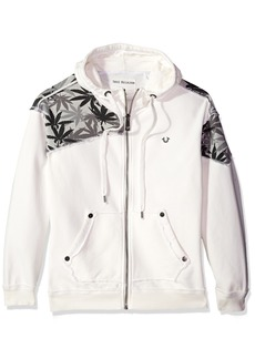 True Religion Men's Marijuana Leaf Print Zip Hoodie  XXXL