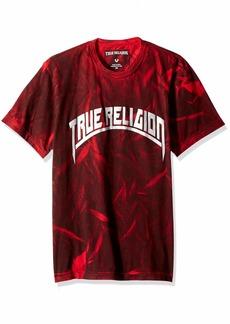 True Religion Men's Metallic Arch Short Sleeve Crew Neck TEE Ruby red XL