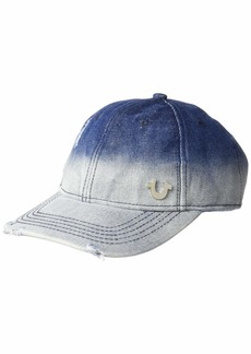 True Religion Men's Metallic Denim Baseball Cap