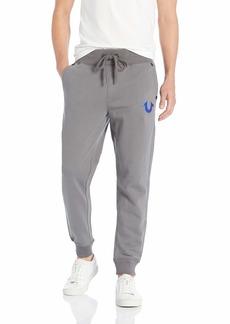 True Religion Men's Metallic FOIL Buddha Slim Cuff Sweatpant Charcoal Blue L