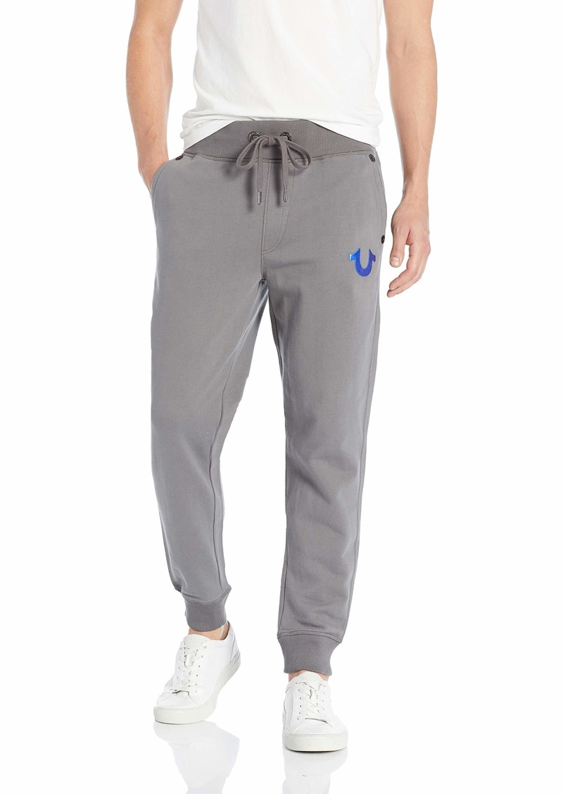 True Religion Men's Metallic FOIL Buddha Slim Cuff Sweatpant Charcoal Blue L