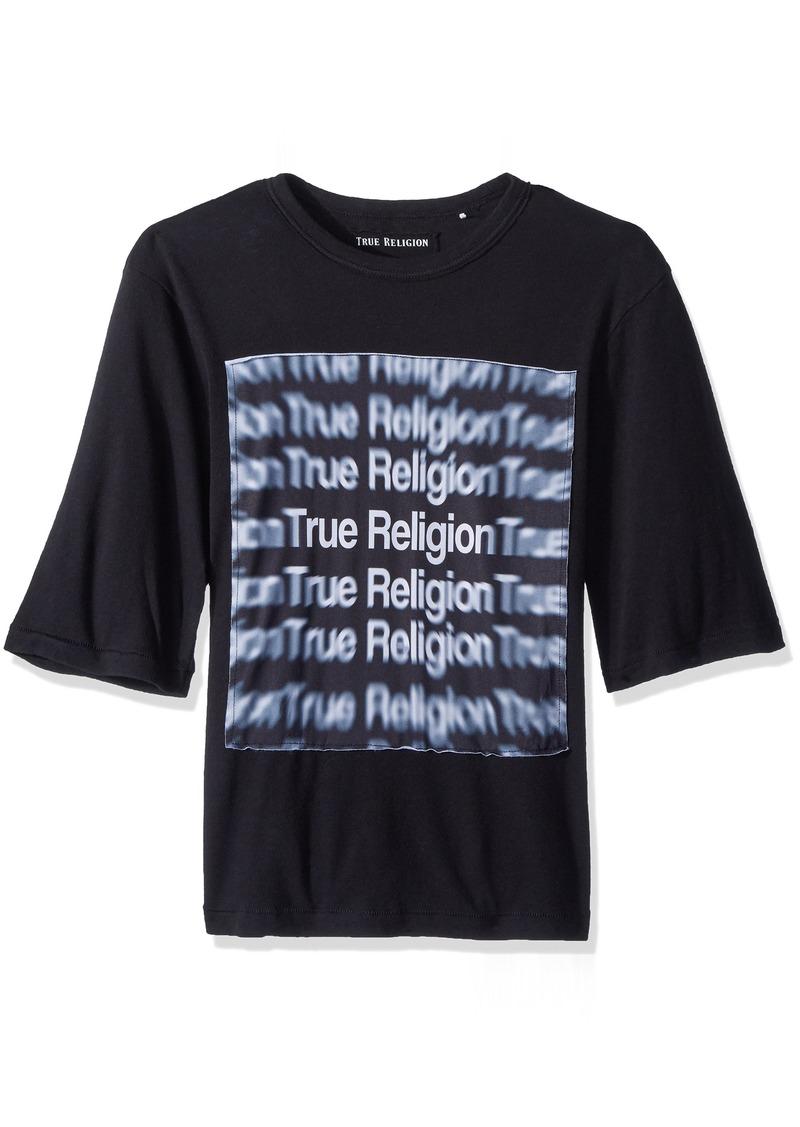 True Religion Men's Oversized Logo 3D Graphic Tee  M