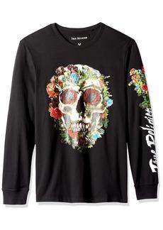 True Religion Men's Skull Bloom Long Sleeve Crew Neck TEE  M