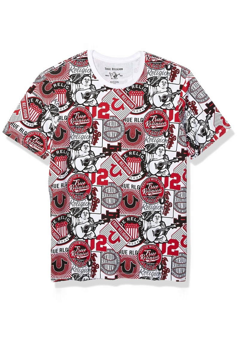 True Religion Men's SS Patch All Over Print TEE White/Ruby Red XXXL