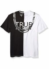 True Religion Men's SS Split Fashion TEE Black/White L