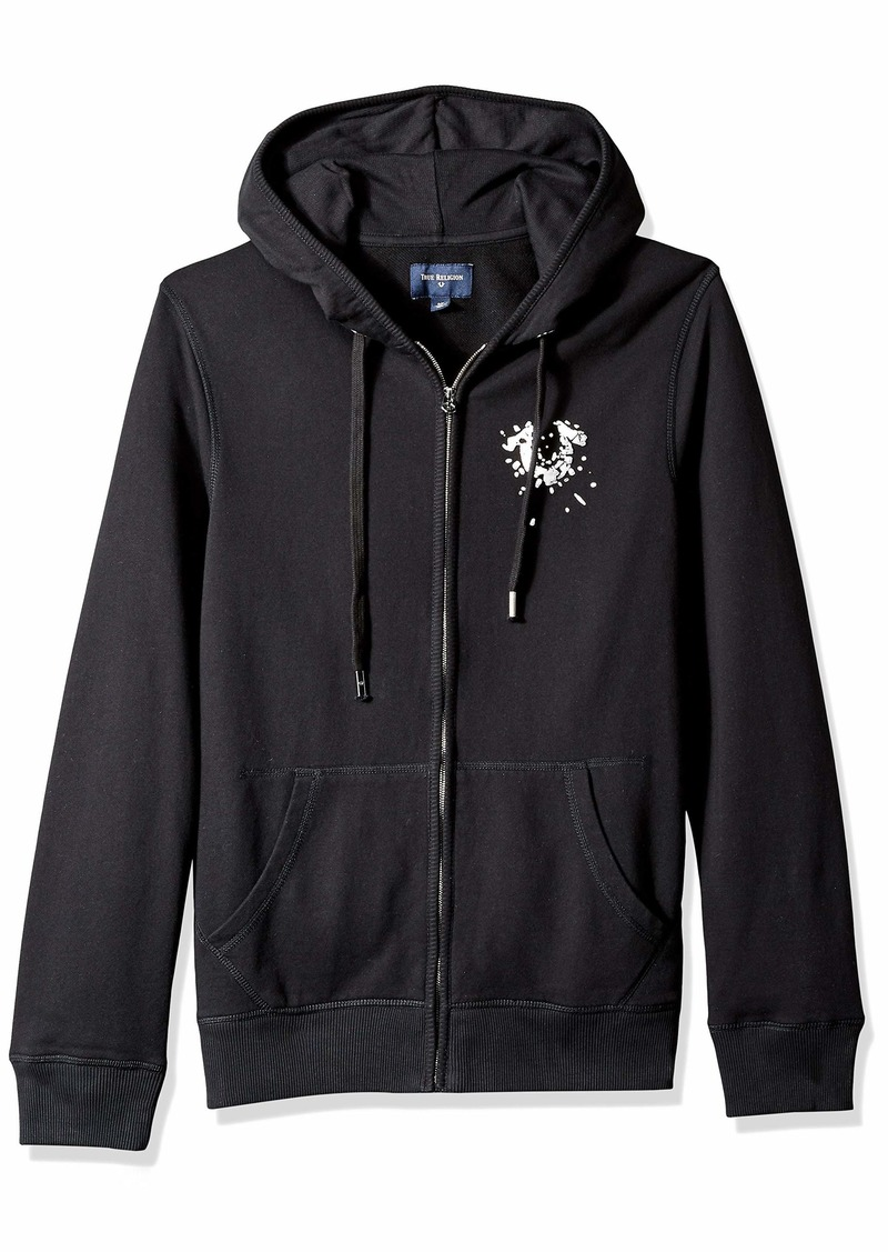 True Religion Men's Zip Hoodie with Metallic Shattered Horseshoe Logo  S