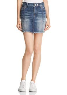 True Religion Mid Rise Denim Skirt in Seasoned Blue