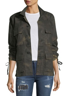 True Religion Military Camo Long-Sleeve Button-Front Jacket