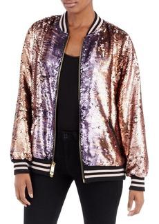 True Religion Pailette Sequin Bomber Jacket