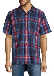 True Religion Plaid-Print Short-Sleeve Button-Down Shirt