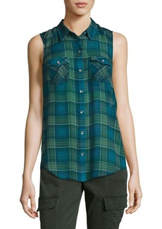 True Religion Plaid Sleeveless Raw Silk Shirt