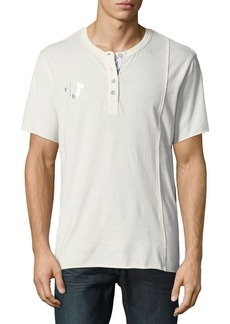 True Religion Raw-Edged Short-Sleeve Henley Shirt