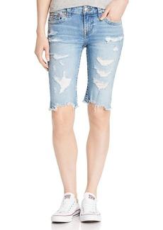 True Religion Riley Shredded Denim Bermuda Shorts