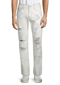True Religion Straight-Leg Ripped Acid-Wash Jeans