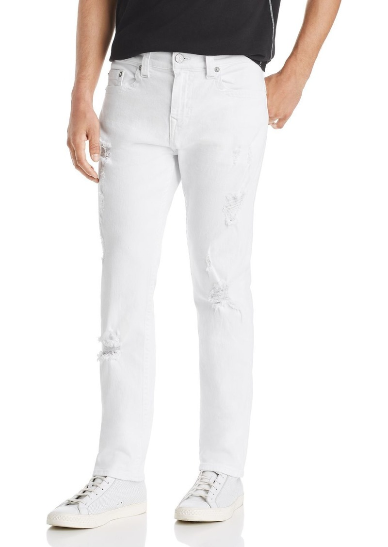 True Religion Rocco No Flap Slim Fit Jeans in Optic White Destroyed