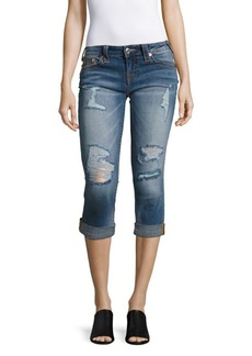 True Religion Rolled Denim Capri Jeans/Blue