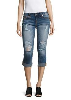 True Religion Rolled Denim Capri Jeans/Blue