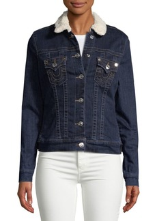 True Religion Sherpa Collar Trucker Jacket