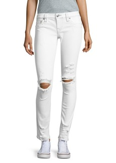 True Religion Skinny-Fit Distressed White Denim Jeans