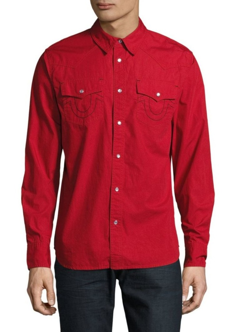 True Religion Solid Button-Up Shirt