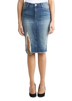 True Religion Torn Denim Skirt