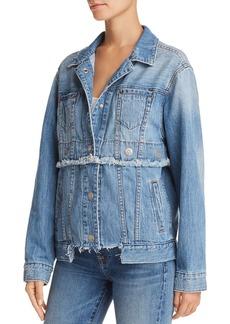 True Religion Trucker Convertible Denim Jacket in Derby Blue