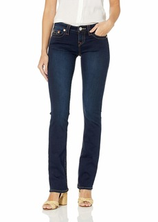 True Religion Women's Billie Mid Rise Straight Leg Rinse Jean