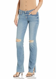 True Religion Women's Billie Split Knee Mid Rise Straight Fit Jean