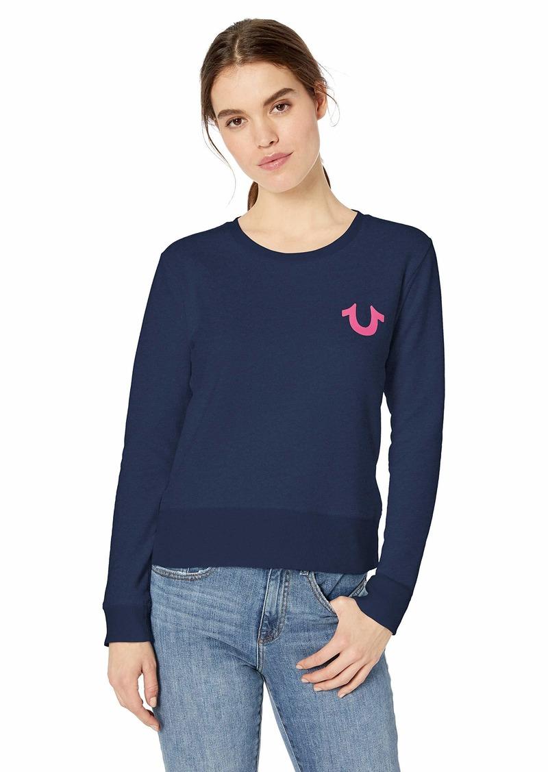 True Religion Women's Classic Buddha Crewneck Sweatshirt  M