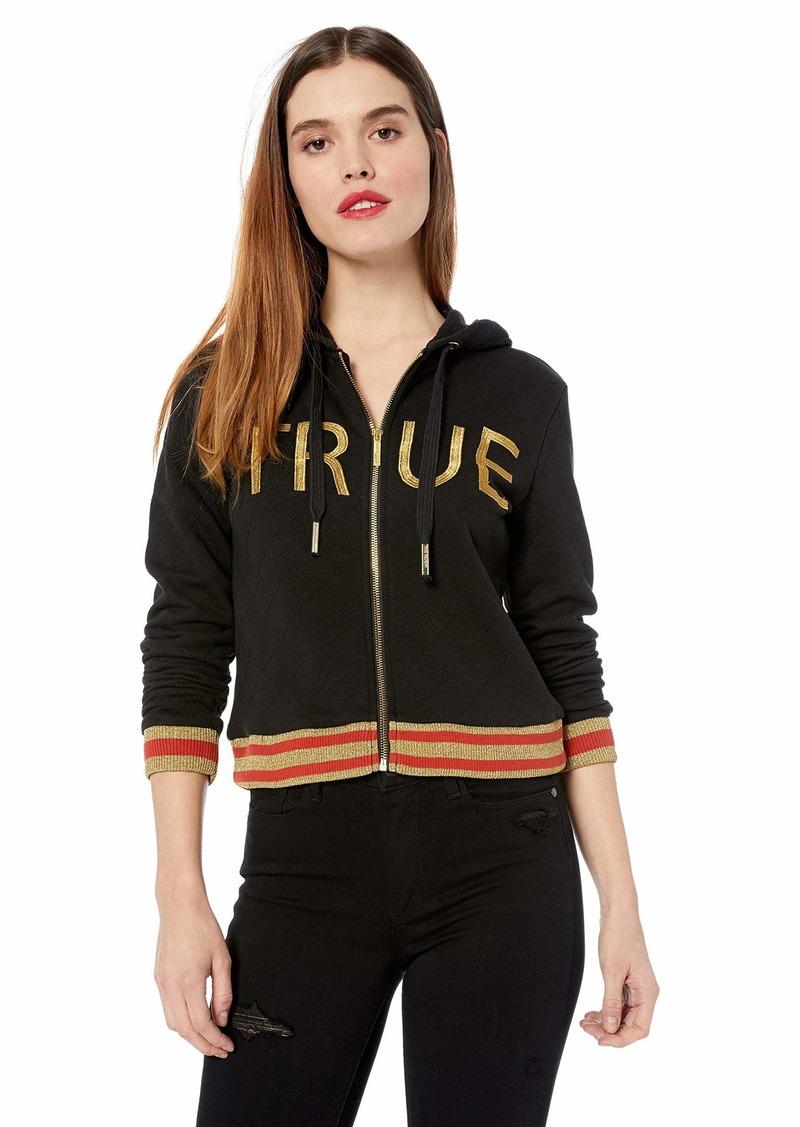 True Religion Women's Crop Logo Zip Hoodie  L