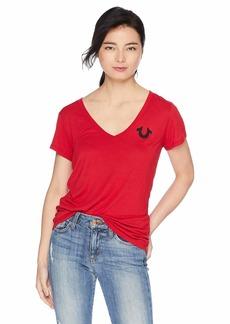 True Religion Women's Crystl Horseshoe DP V Neck TEE Ruby red XXL