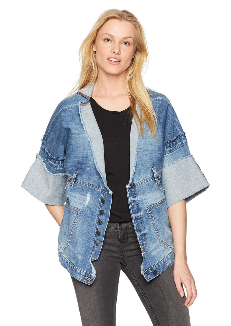 True Religion Women's Deconstructed Indigo Jacket  L