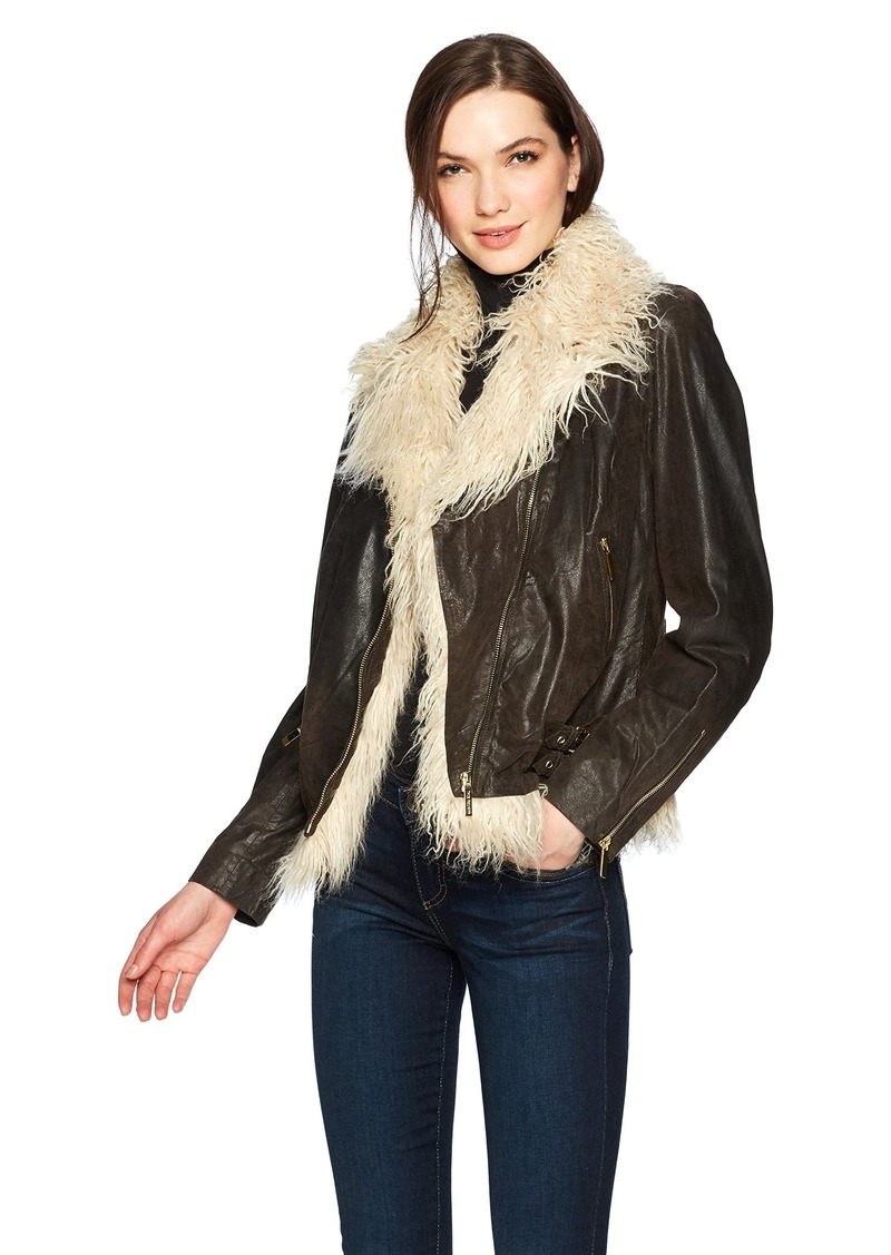True Religion Women's Faux Fur Leather Moto Jacket  S