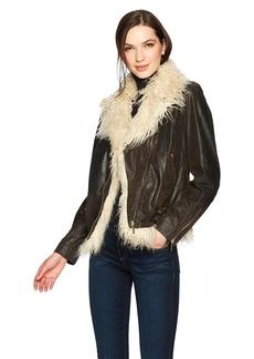 True Religion Women's Faux Fur Leather Moto Jacket  XS
