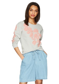 True Religion Women's Floral Applique Crewneck Sweatshirt  L