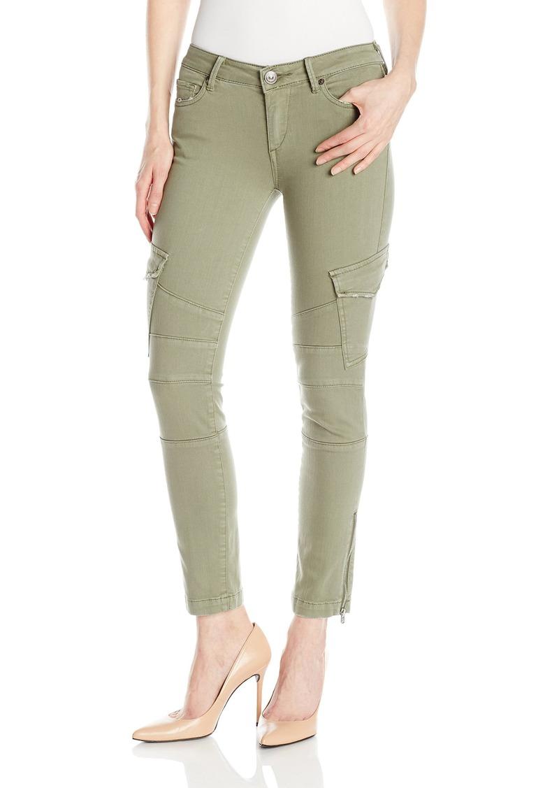 True Religion Women's Halle Mid Rise Super Skinny Crop Cargo Jean