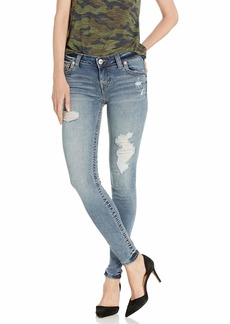 True Religion Women's Halle Skinny Jean Molten Indigo with Destroy