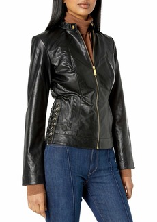 True Religion Women's LACE UP Moto Jacket  S