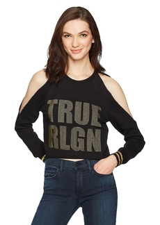 True Religion Women's Logo Cold Shoulder Crop Sweatshirt  L