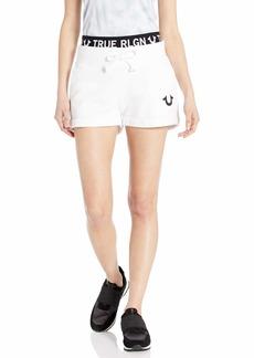 True Religion Women's Logo Waistband Sweat Shorts  M