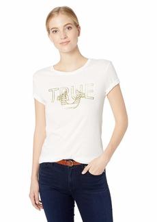 True Religion Women's Metallic Horseshoe Logo Tee Soft White with Gold M